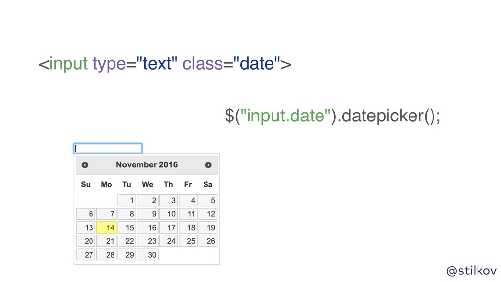 "@stilkov <input type=""text"" class=""date""> $(""in..."