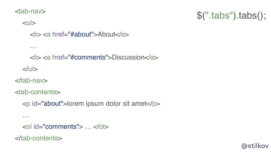 """@stilkov <tab-nav> <ul> <li> <a href=""""#about"""">A..."""