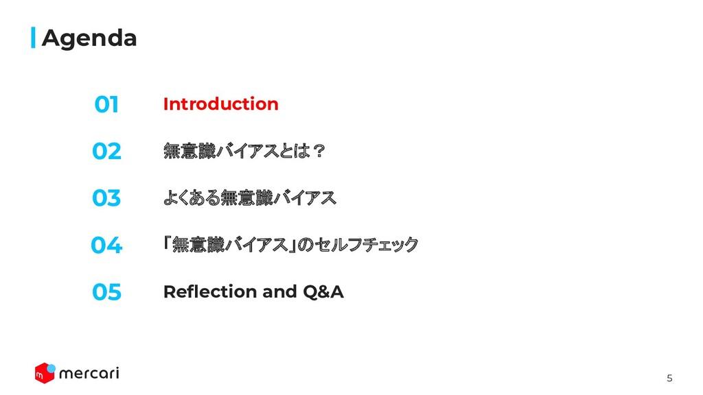 5 Introduction Agenda 無意識バイアスとは? よくある無意識バイアス 02...