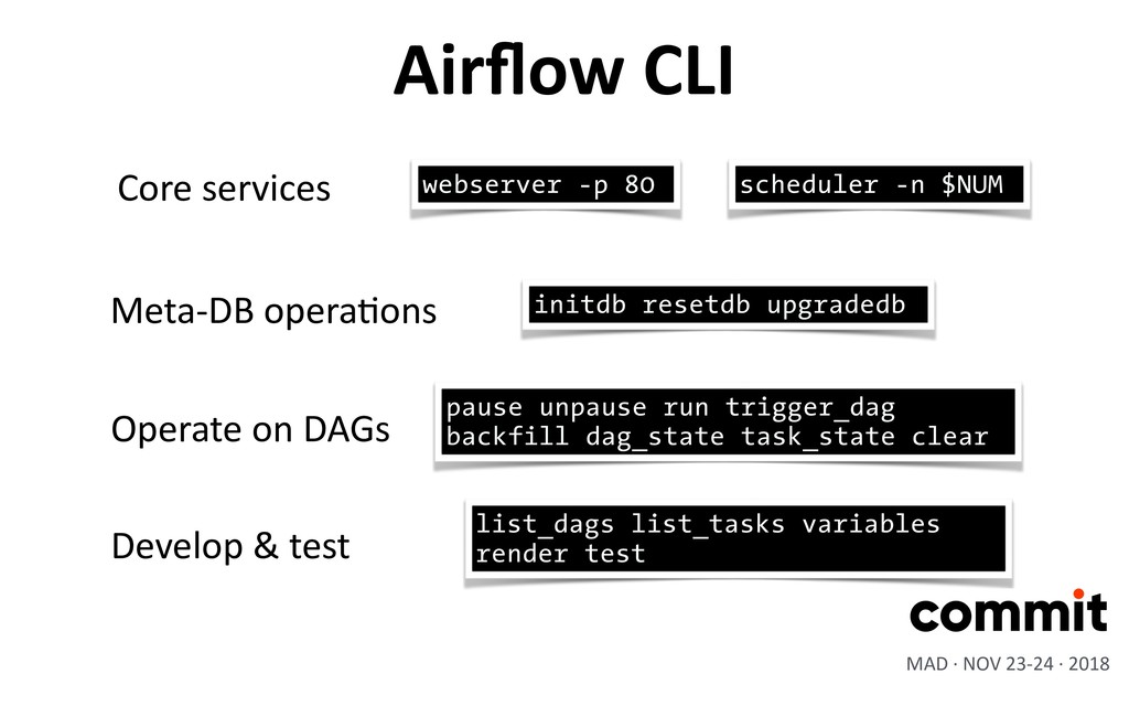Airflow CLI scheduler -n $NUM Core services webs...