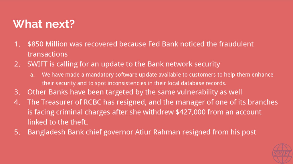 What next? 1. $850 Million was recovered becaus...