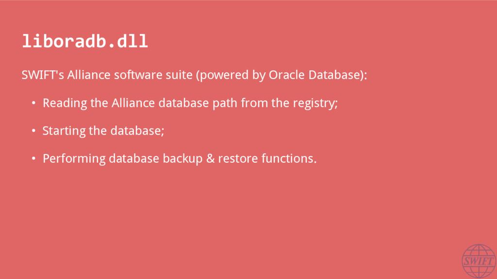 liboradb.dll SWIFT's Alliance software suite (p...
