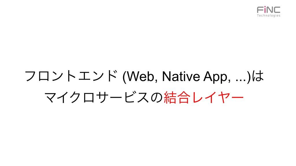 ϑϩϯτΤϯυ (Web, Native App, ...) ϚΠΫϩαʔϏεͷ݁߹ϨΠϠʔ