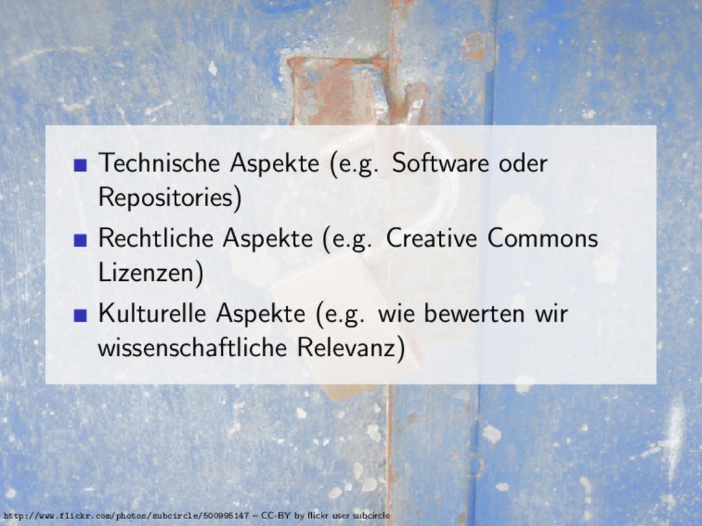 Technische Aspekte (e.g. Software oder Reposito...