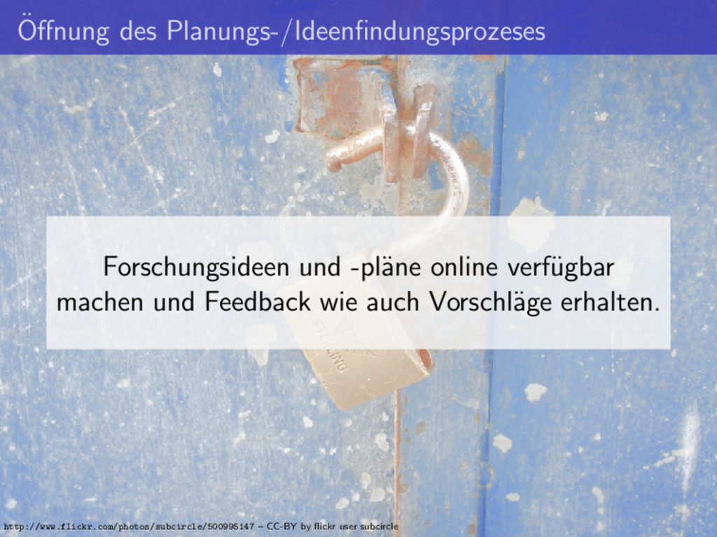 ¨ Offnung des Planungs-/Ideenfindungsprozeses For...