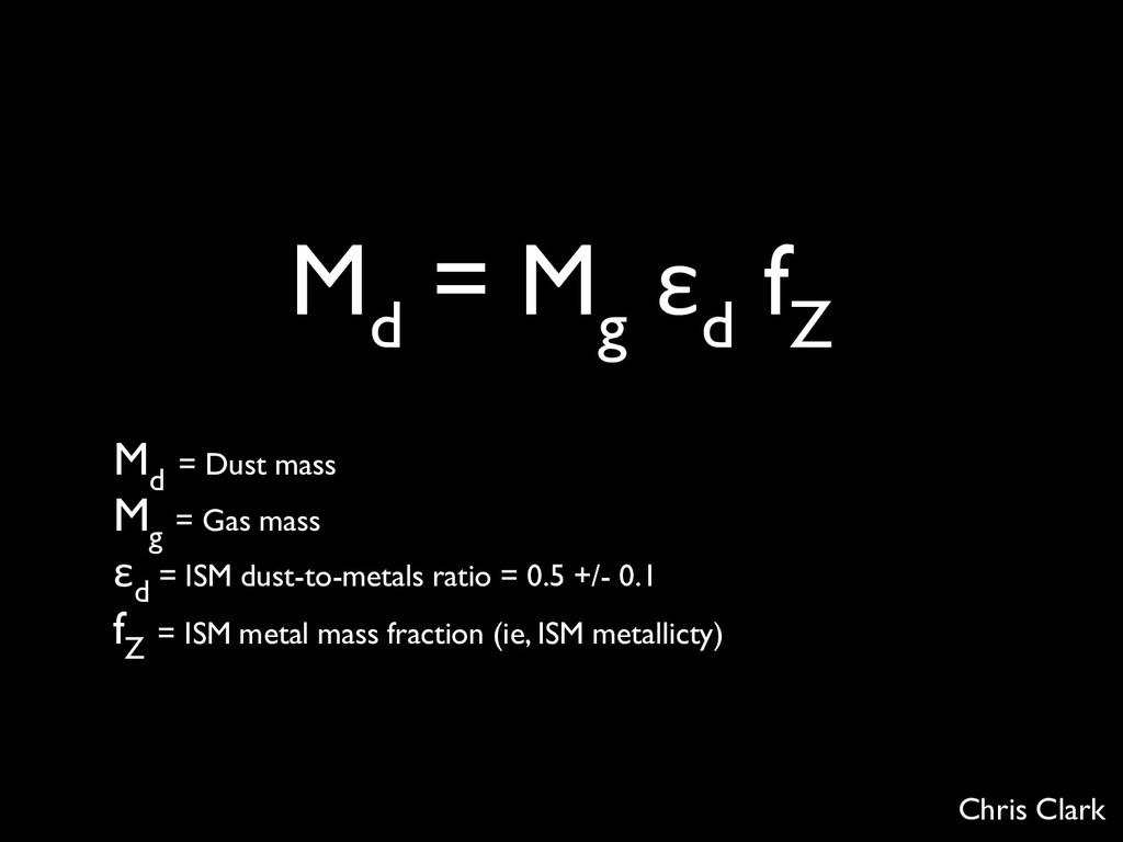 M d = M g ε d f Z M d = Dust mass M g = Gas mas...