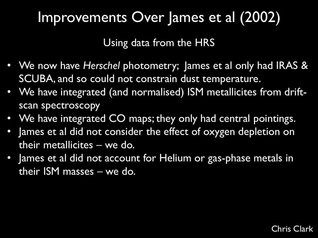 Improvements Over James et al (2002) Using data...