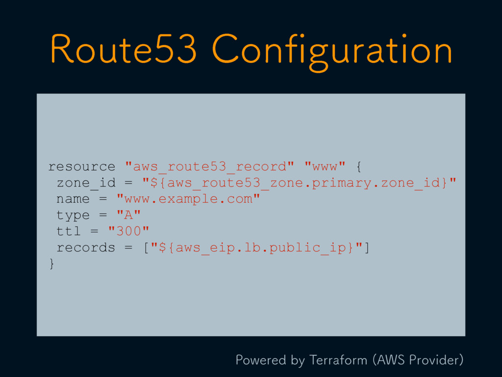 "resource ""aws_route53_record"" ""www"" { zone_id =..."