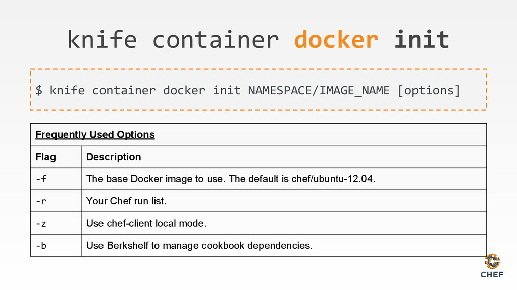 knife container docker init $ knife container d...