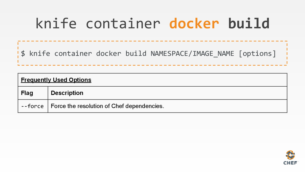 knife container docker build $ knife container ...