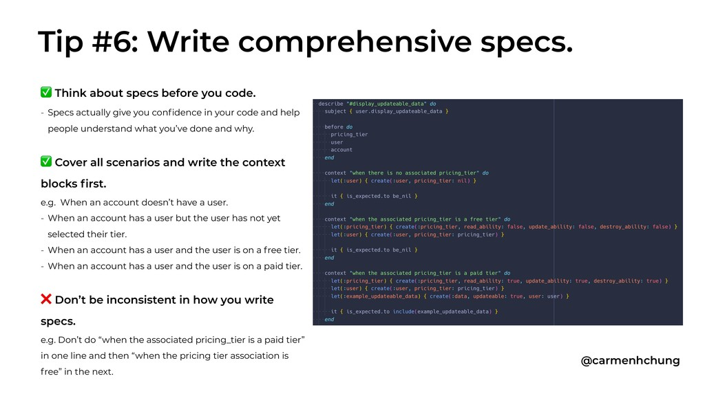 ✅ Think about specs before you code. - Specs ac...