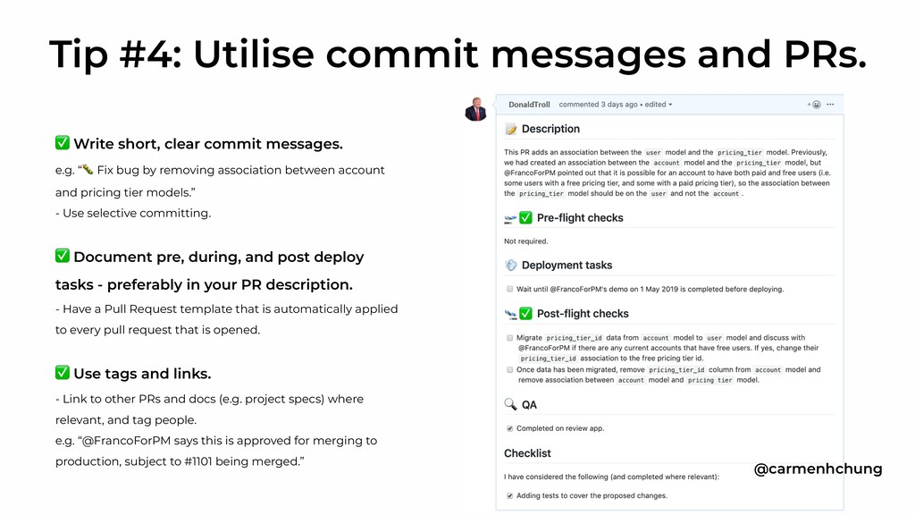 """✅ Write short, clear commit messages. e.g. """" Fi..."""