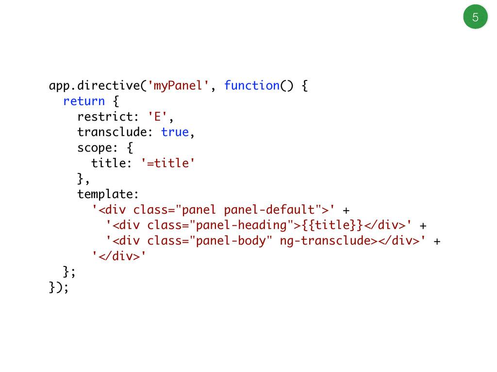 5 app.directive('myPanel', function() { return ...