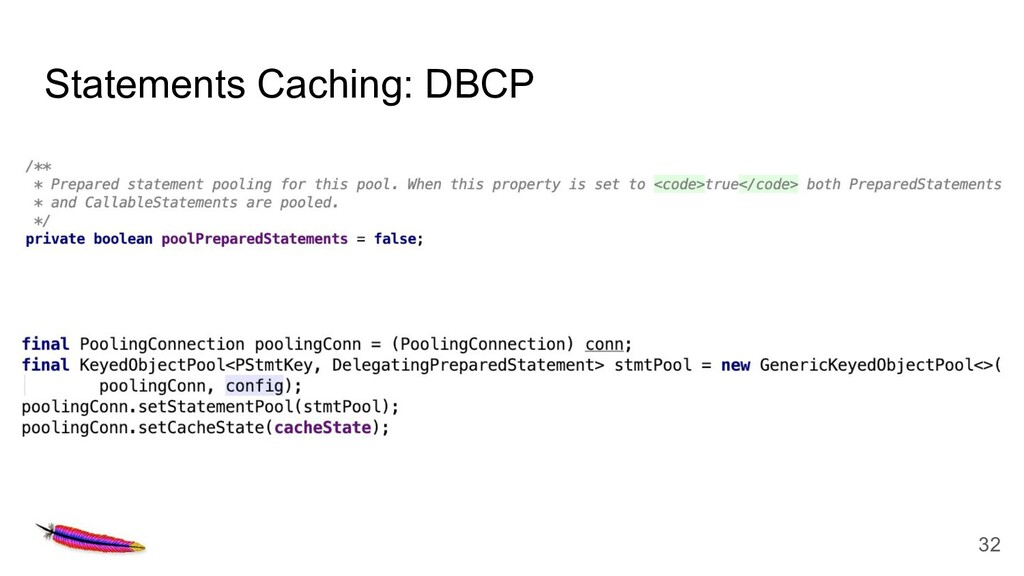 Statements Caching: DBCP 32