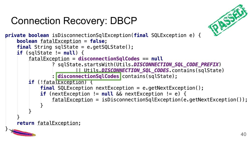 Connection Recovery: DBCP 40