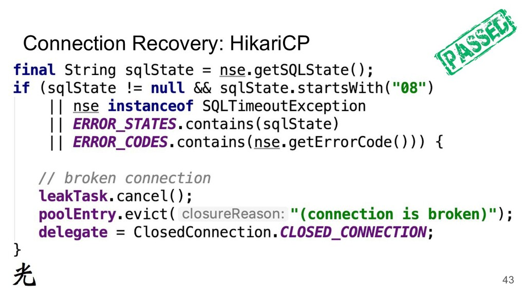 Connection Recovery: HikariCP 43