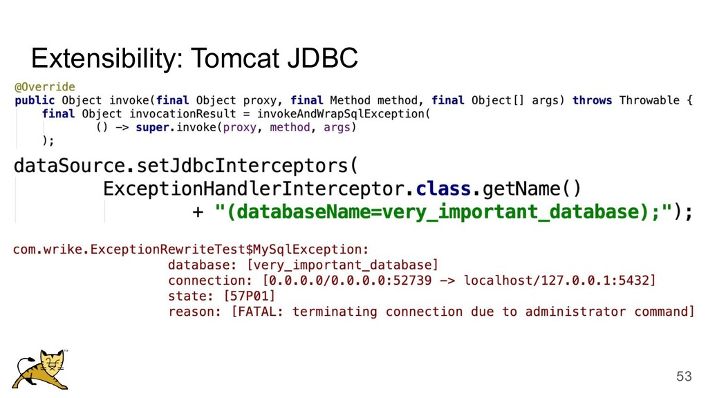 Extensibility: Tomcat JDBC 53