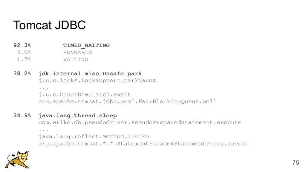 Tomcat JDBC 92.3% TIMED_WAITING 6.0% RUNNABLE 1...