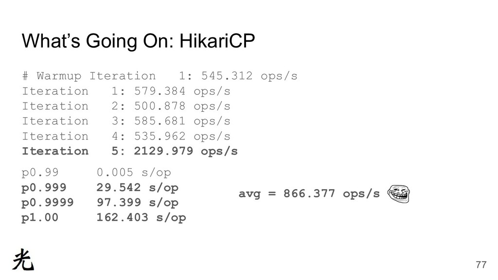 What's Going On: HikariCP # Warmup Iteration 1:...