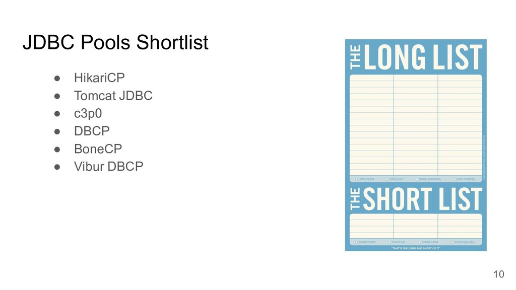 JDBC Pools Shortlist ● HikariCP ● Tomcat JDBC ●...