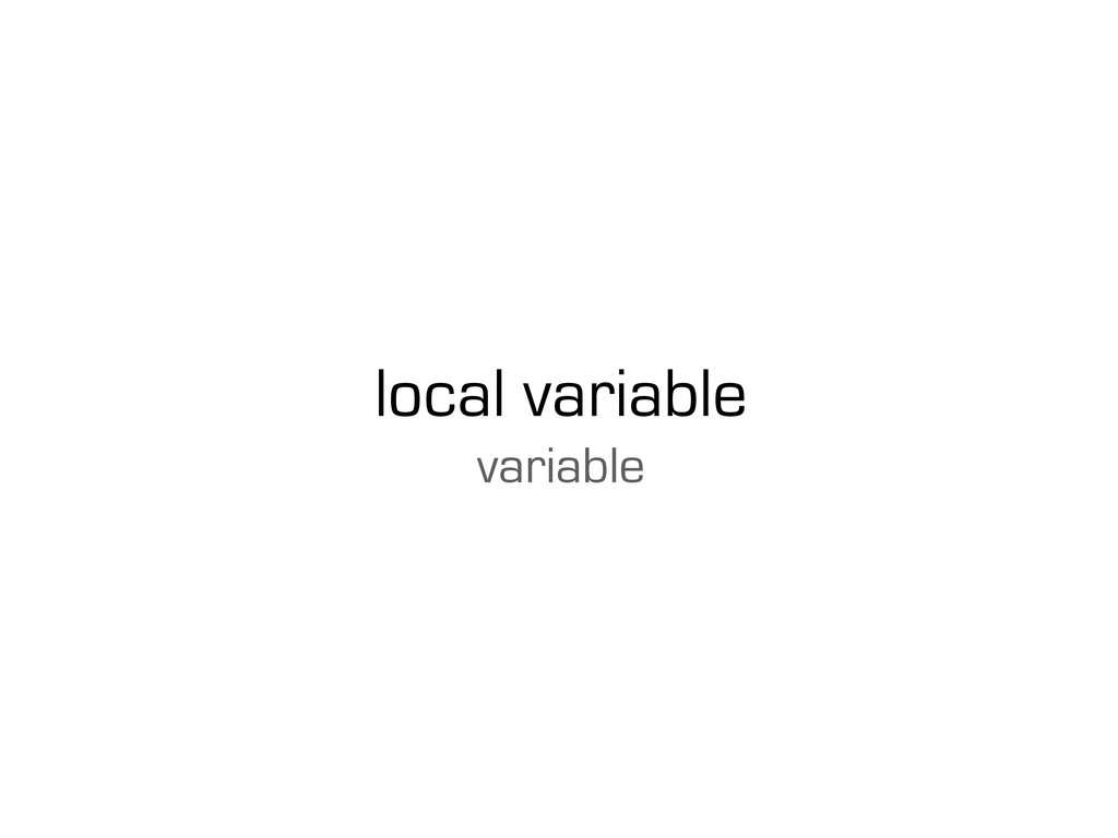 local variable variable
