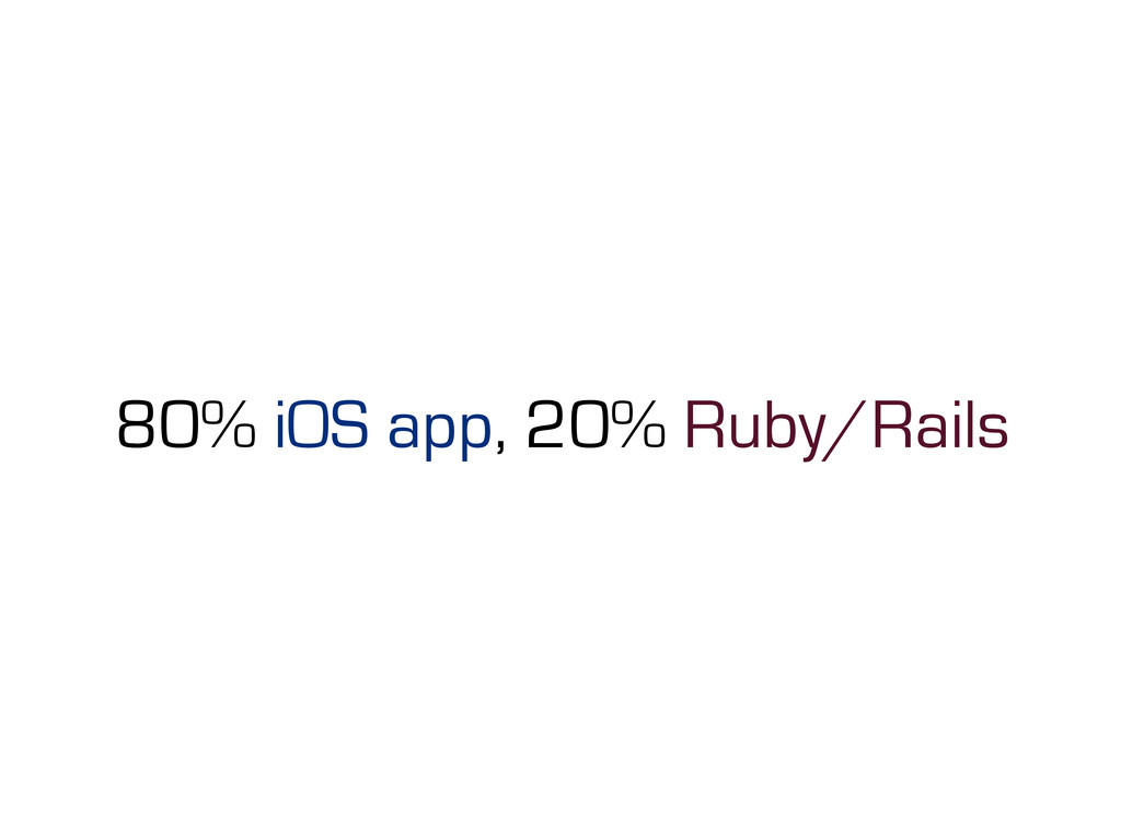 80% iOS app, 20% Ruby/Rails