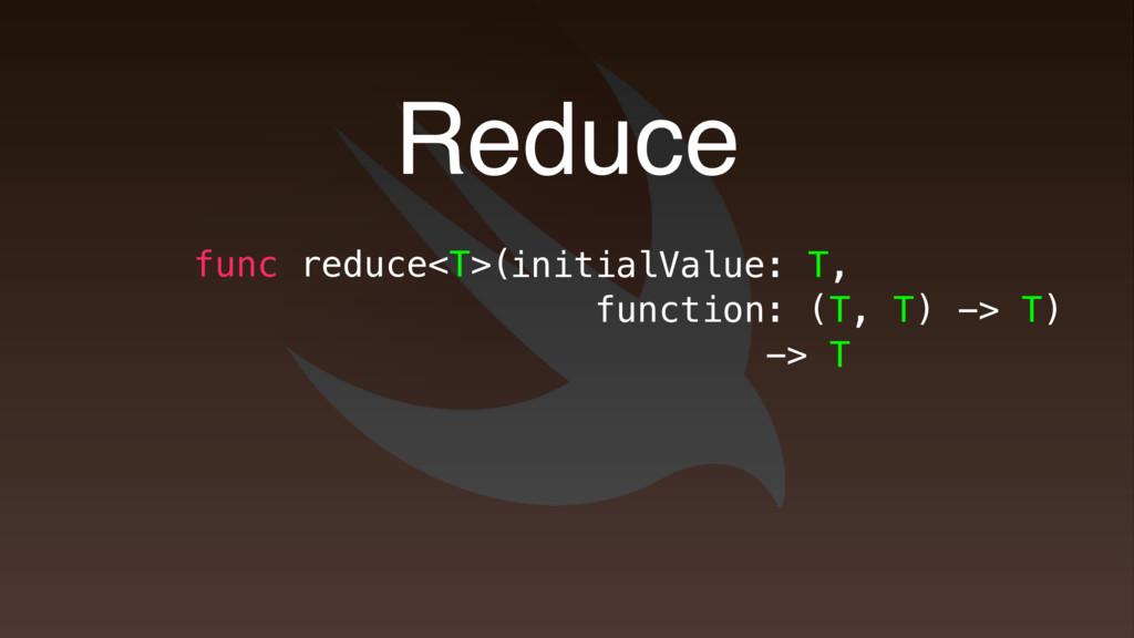 Reduce func reduce<T>( initialValue: T, functio...