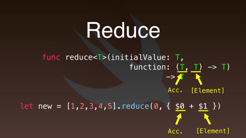 { $0 + $1 } Reduce func reduce<T>( initialValue...