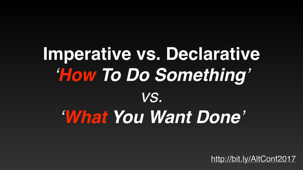 Imperative vs. Declarative 'How To Do Something...