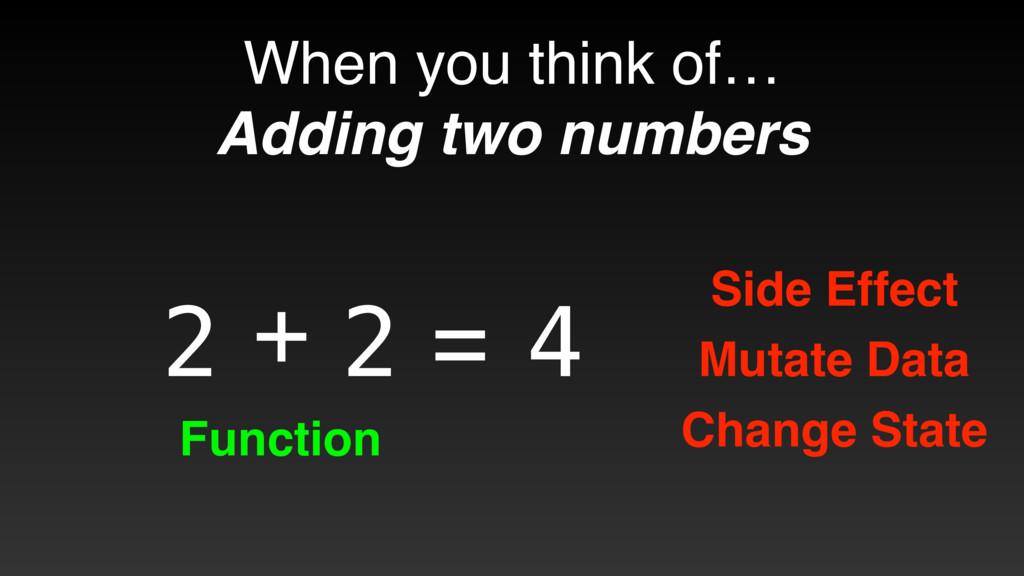 + 2 2 = 4 Side Effect Mutate Data Change State ...