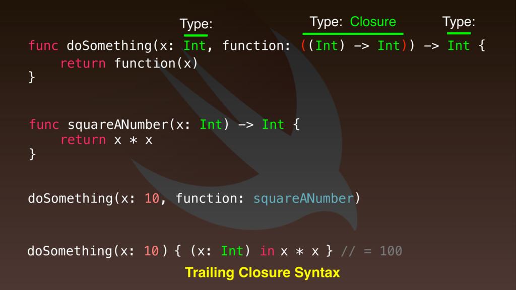 } x * x func doSomething(x: Int, function: ((In...