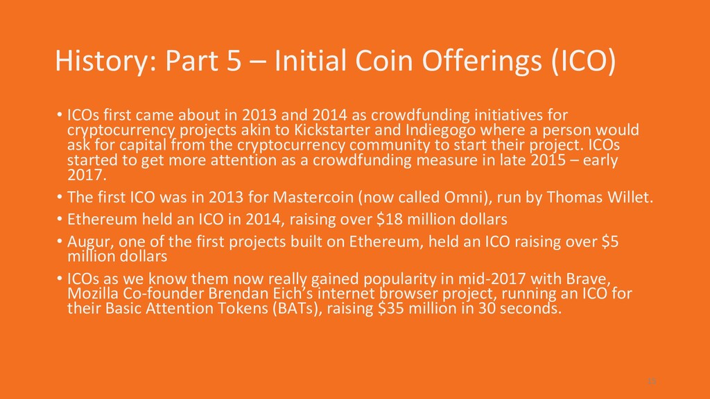 History: Part 5 – Initial Coin Offerings (ICO) ...