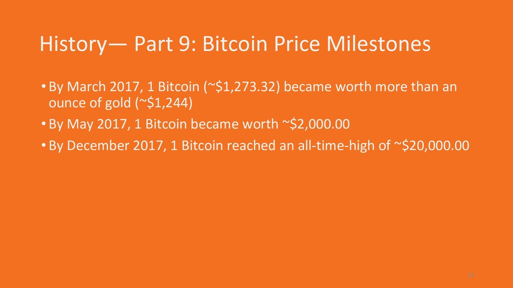 History— Part 9: Bitcoin Price Milestones •By M...