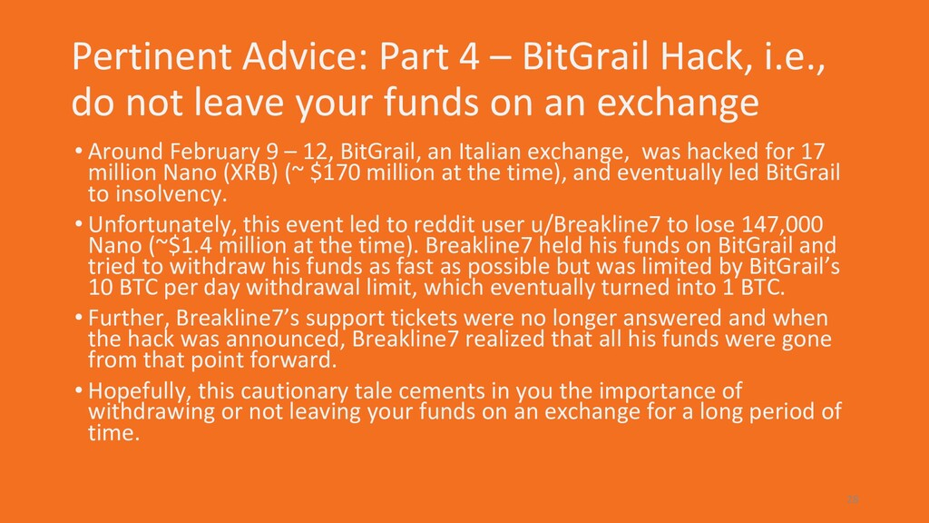 Pertinent Advice: Part 4 – BitGrail Hack, i.e.,...