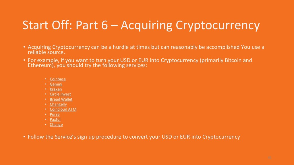 Start Off: Part 6 – Acquiring Cryptocurrency • ...