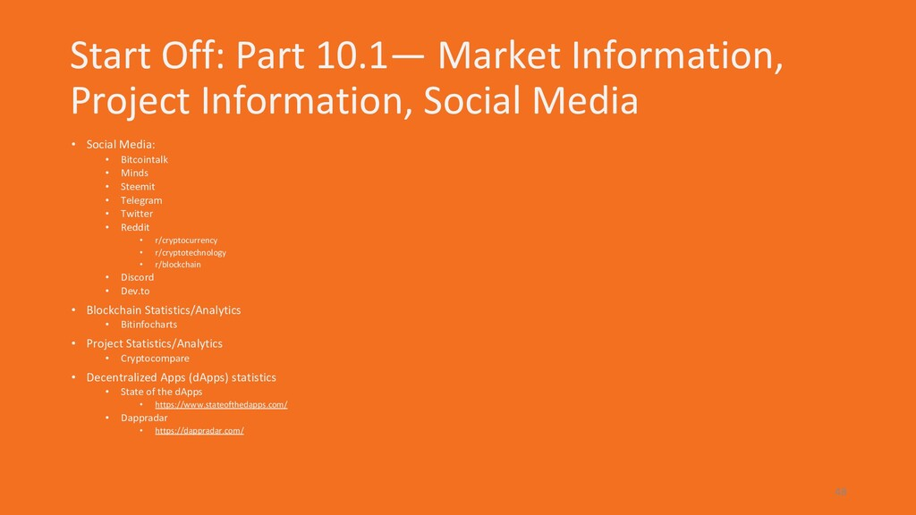 Start Off: Part 10.1— Market Information, Proje...