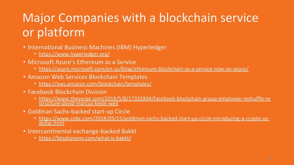 Major Companies with a blockchain service or pl...