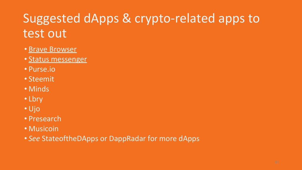 Suggested dApps & crypto-related apps to test o...