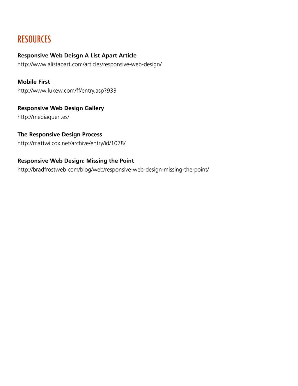 RESOURCES Responsive Web Deisgn A List Apart Ar...