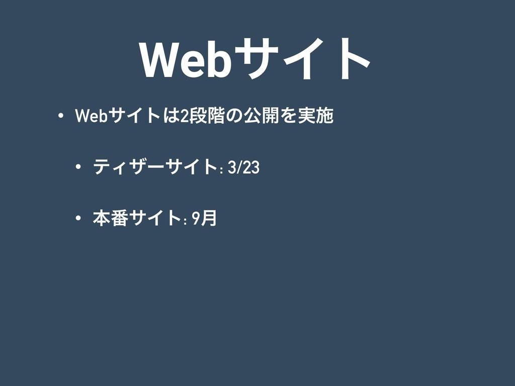 WebαΠτ • WebαΠτ2ஈ֊ͷެ։Λ࣮ࢪ • ςΟβʔαΠτ: 3/23 • ຊ൪α...