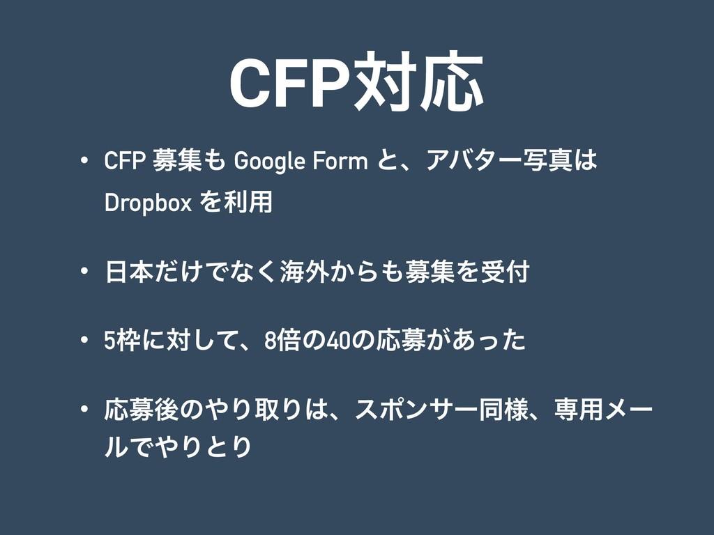 CFPରԠ • CFP ืू Google Form ͱɺΞόλʔࣸਅ Dropbox Λ...