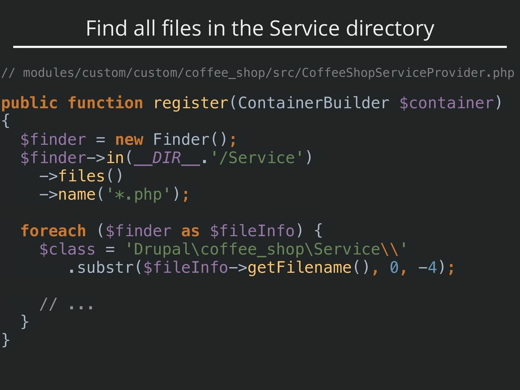 Find all files in the Service directory // modul...