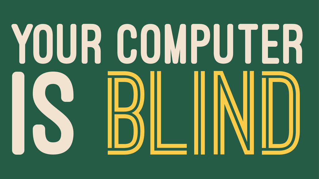 YOUR COMPUTER IS BLIND