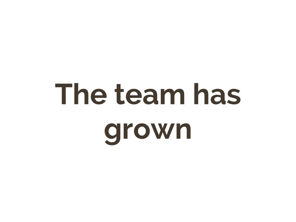 The team has grown