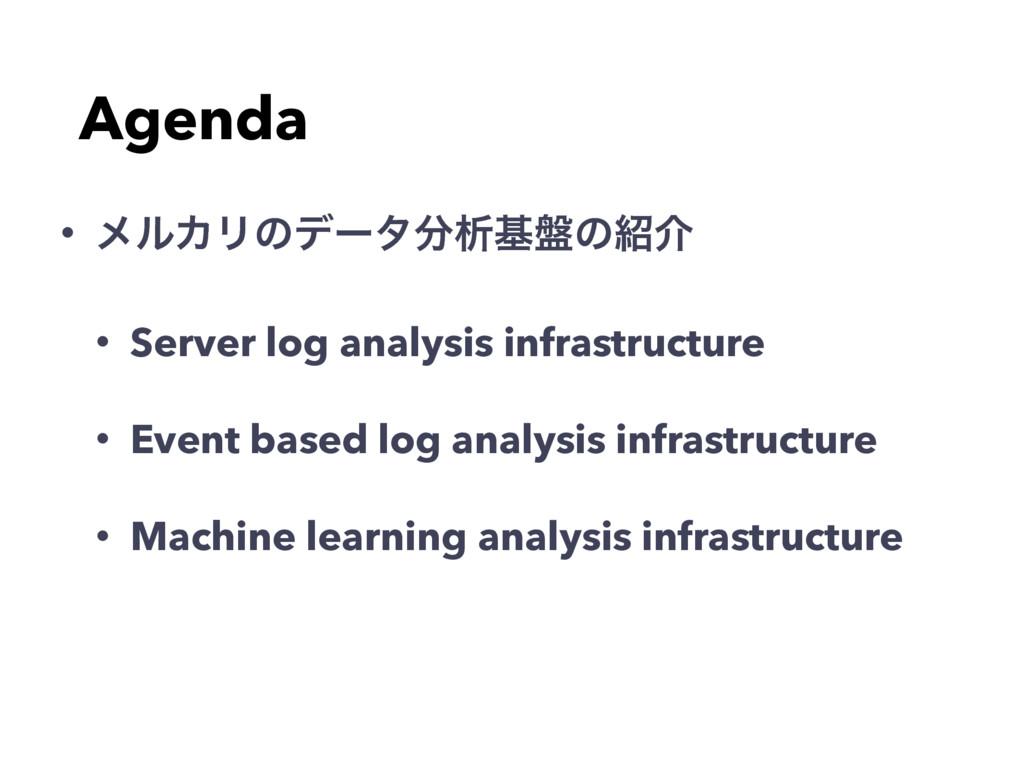 Agenda • ϝϧΧϦͷσʔλੳج൫ͷհ • Server log analysis ...
