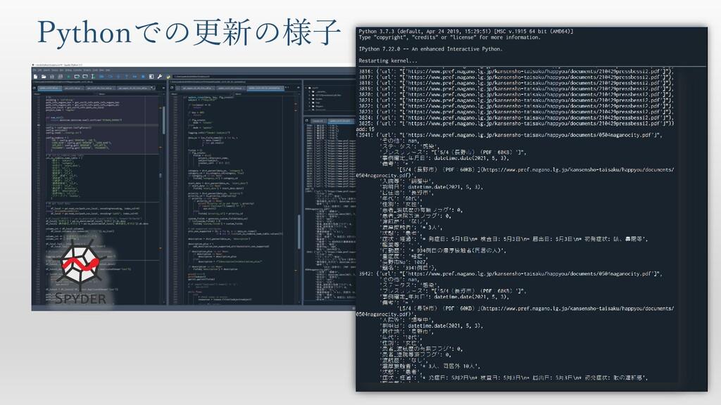 Pythonでの更新の様子
