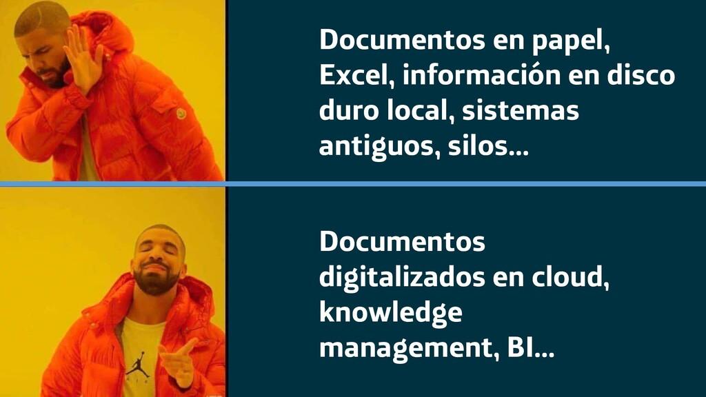 Documentos en papel, Excel, información en disc...
