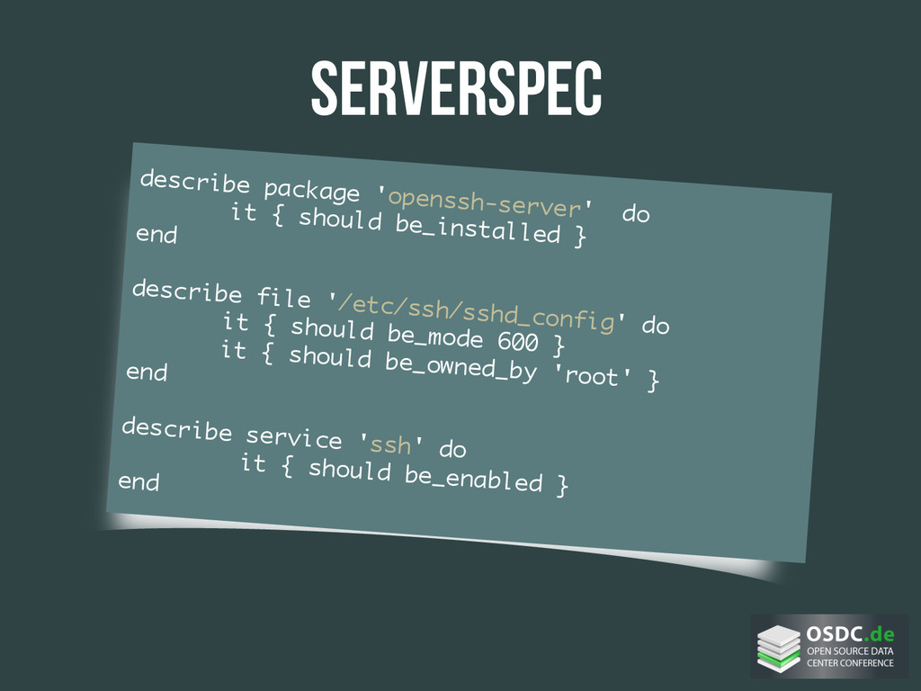 serverspec describe package 'openssh-server' do...