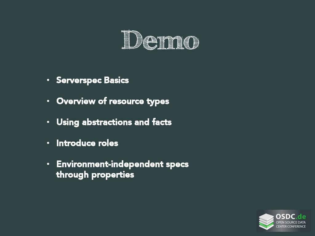 Demo • Serverspec Basics • Overview of resou...