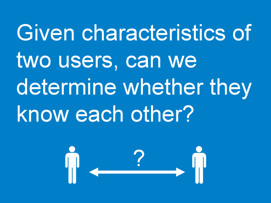 Given characteristics of two users, can we dete...